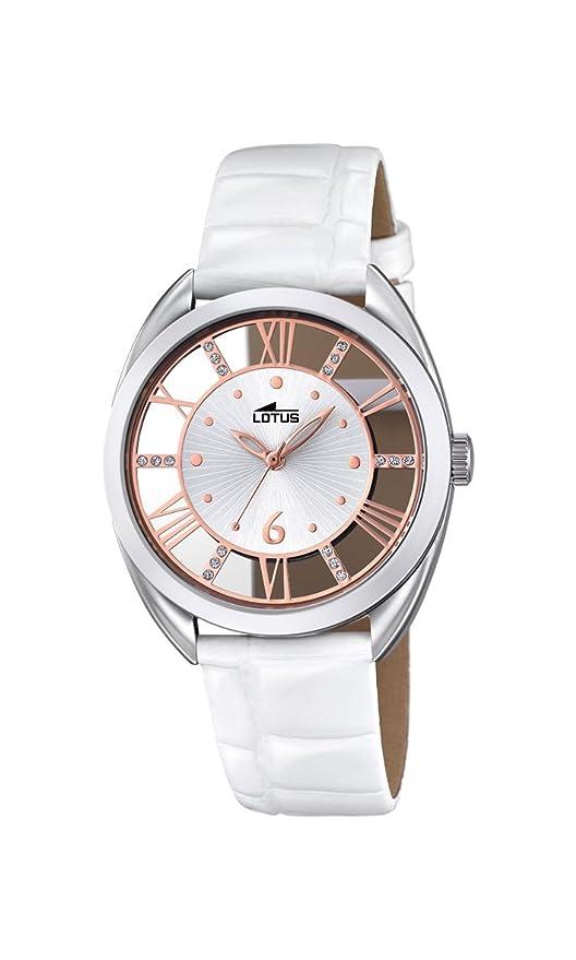 2a3832d62 Reloj Cuarzo Lotus para Mujer con Plata Y Blanco Cuero 18224/1: Amazon.es:  Relojes