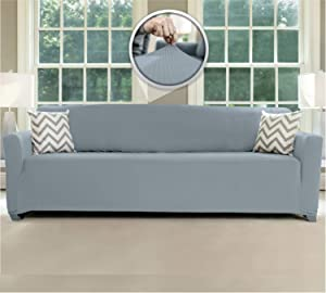 Sofa Shield Original Fitted 1 Piece X-Large Oversized Sofa Protector, Many Colors, Seat Width to 78 Inch, Stretchy Furniture Slipcover, Fastener Straps, Spandex Couch Slip Cover for Dogs, Denim Blue