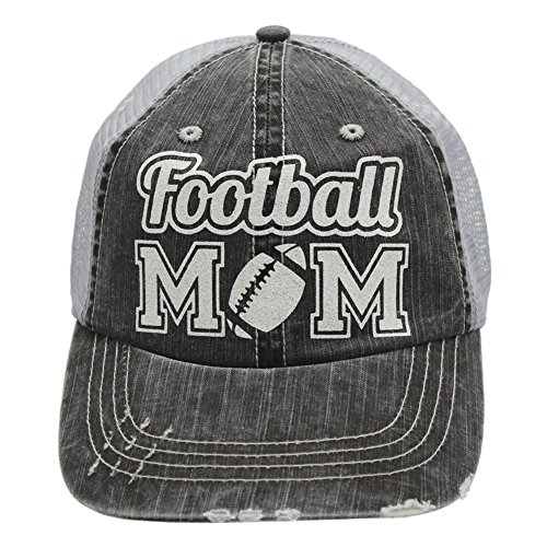Football Mom Sports Trucker Style baseball Cap Hat Rocks any Outfit White glitter (Baseball Moms Rock)