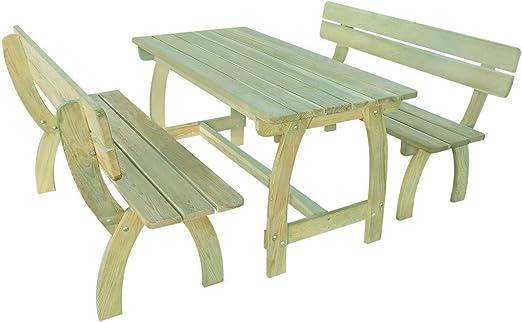 SSITG Jardín Conjunto de muebles de jardín madera Asiento Grupo ...