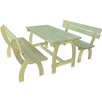 LD Set de Meubles de Jardin Table de Jardin en Bois Banc en ...