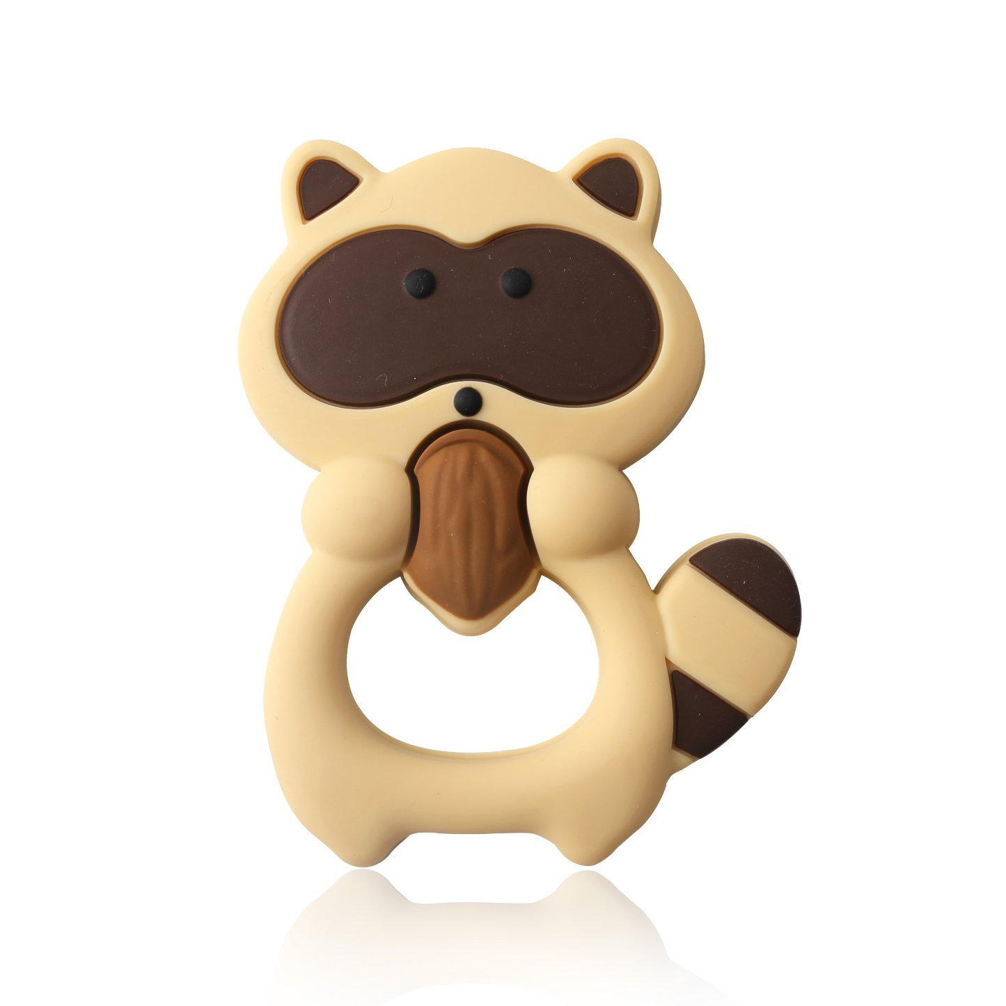 Baby Teether Toys Silicone Teething Infant Teether Pendant BPA Free Baby Shower Gift Raccoon - Brown HAO JIE XC-SSP004