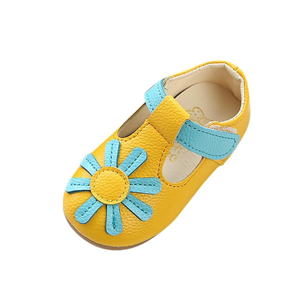 60e411a4cf7c24 Amazon.com   FEITONG Children Kids Girls Sunflower Floral Non-Slip Sneaker  PU Leather Princess Casual Toddler Single Shoes   Baby