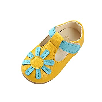 abdfdc40b16d2 Amazon.com   FEITONG Children Kids Girls Sunflower Floral Non-Slip Sneaker  PU Leather Princess Casual Toddler Single Shoes   Baby