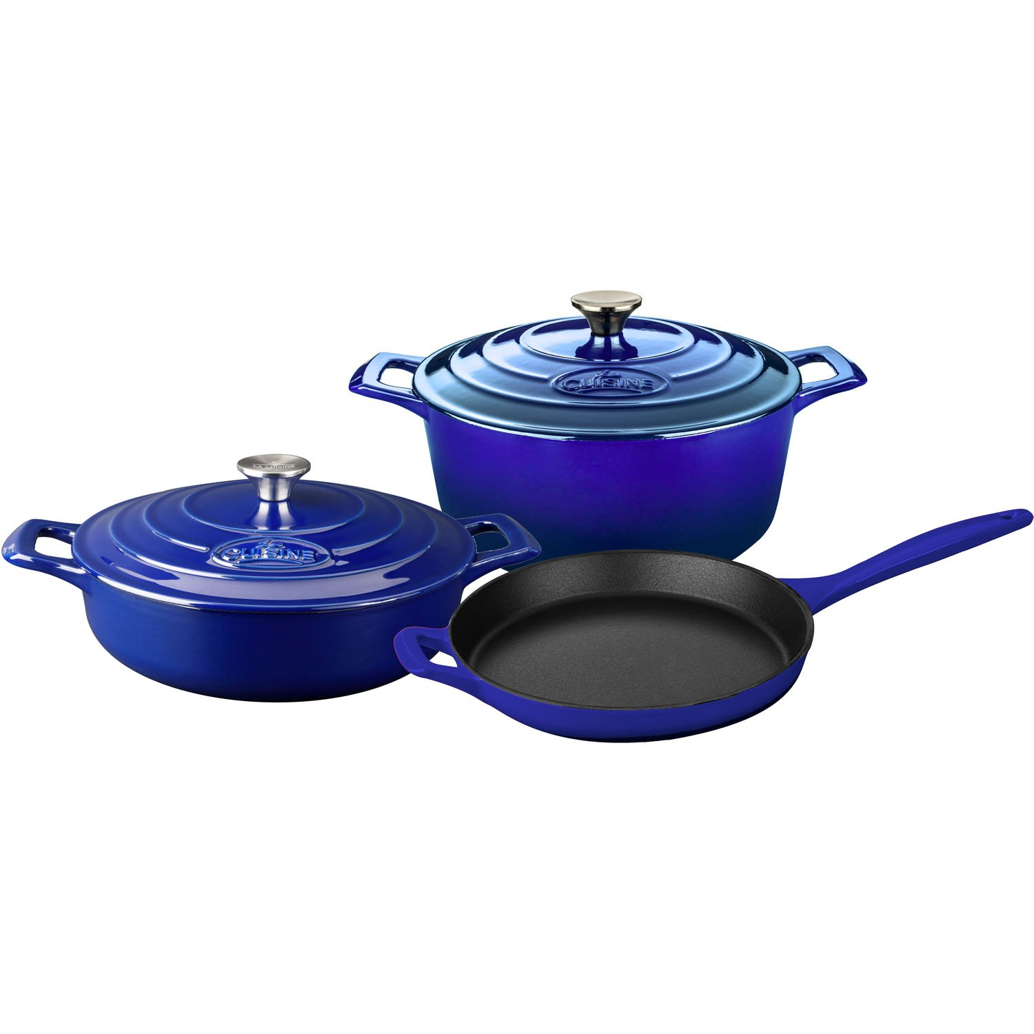 La Cuisine LC 2679MB PRO 5-Piece Enameled Cast Iron Cookware Set in High Gloss Sapphire (Round Casserole),