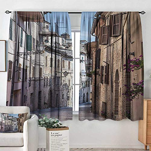 Mozenou Mediterranean Custom Curtains Italian Apartments in Aged City Countryside Italy Dreamy Path Destination Photo Thermal Blackout Curtains 55