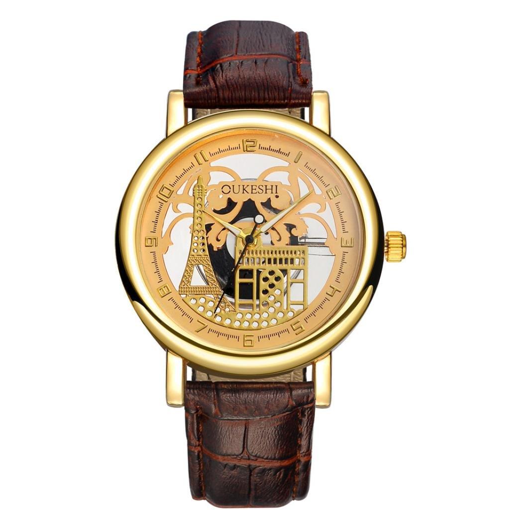 Relojes de pulsera análogos del cuarzo de la correa de cuero de la ...