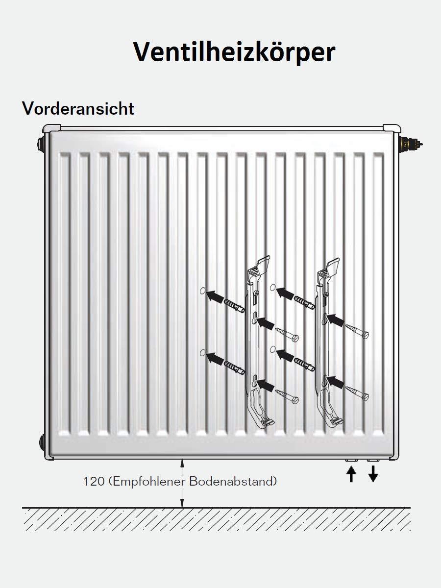 Buderus Ventilheizk/örper Typ 33 H/öhe 900 x L/änge 900 mit Halter und Stopfen