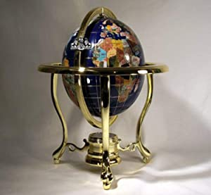 Unique Art 10-Inch by 6-Inch Blue Lapis Ocean Table Top Gemstone World Globe with Gold Tripod