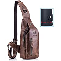 Men's Shoulder Bag,Naswei Sling Genuine Leather Chest Bag Anti-theft Crossbody Daypack Vintage Water Resistant for Travel Hiking Working School Business Cycling