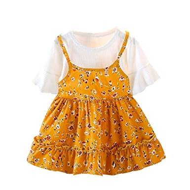 0408cd5454 Darringls Enfant Fille Robe La Mode Manche Courte Col Rond Volant Floral  Faux Deux pièces Jupe