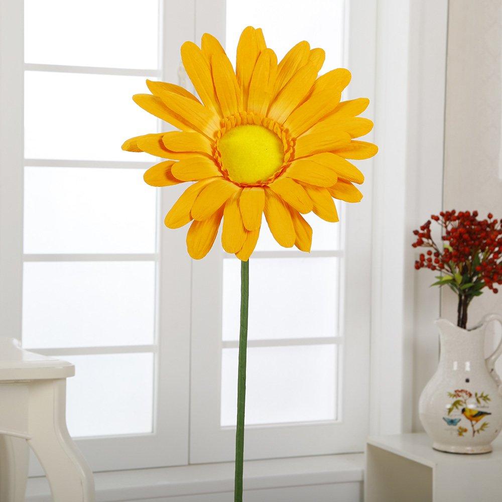 Flora Bunda A-027 15'' Paper Big Daisy with Stem(Yellow , 12pcs) by Flora Bunda