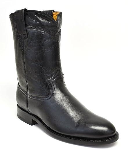 Men's Handcrafted Black Goatskin Roper Cowboy Boot Round Toe