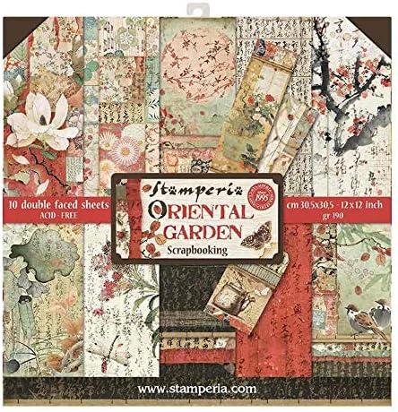 """STAMPERIA SBBL58 Papierblock 10 Blätter doppelseitig Oriental Garden, Mehrfarbig, 30.5 x 30.5 (12"""" x 12"""")"""