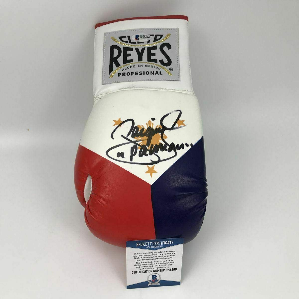 Autographed//Signed MANNY PAC-MAN PACQUIAO RWB Boxing Glove Beckett BAS COA Auto Beckett Authentication
