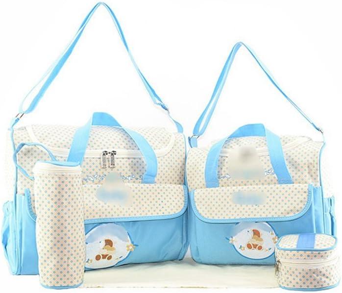 Jitong Set de 5 Piezas Bolsos Cambiadores//Bordado Mam/á Bolsa de Hombro//Pa/ñales Cambio Beb/é//Bolsa Termica para Biberones Azul, Talla /única