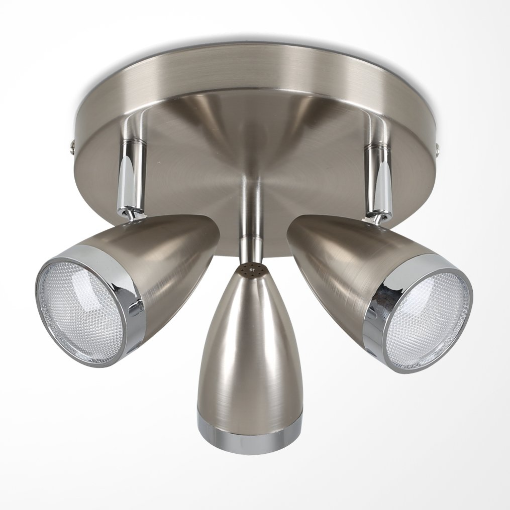 Modern 3 Way Brushed Chrome Adjustable Integrated LED Ceiling Light Spotlight - 6500K Cool White MiniSun
