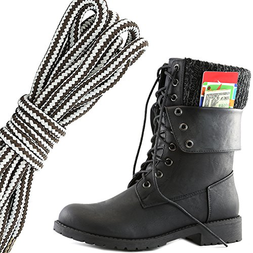 DailyShoes Women's Military Lace Up Buckle Combat Boots Ankle Mid Calf Fold-Down Exclusive Credit Card Pocket, Dark Brown Grey