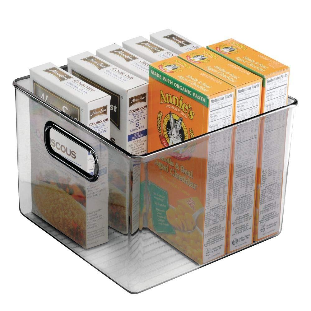mDesign Set da 2 Contenitore Alimenti con pratici Manici Trasparente//Grigio Portaoggetti frigo per l/'organizzazione dei cibi Contenitore Freezer in plastica Anche per frigo e dispensa