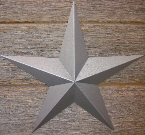 Cheap  16 Inch Heavy Duty Metal Barn Star Painted Hammered Silver. The Hammered..