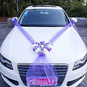 Homebeast Artificial Flowers Bouquet Set for Wedding Car Decoration Fake Flowers Ribbon Wedding Silk Organza Wreath Heart Shape Door Wall Decor 93
