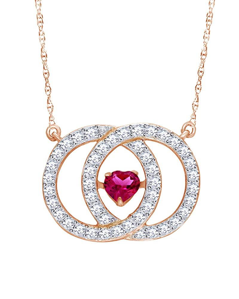 Wishrocks 14K Rose Gold Over Sterling Silver Interlocking Heart Circles Pendant Necklace
