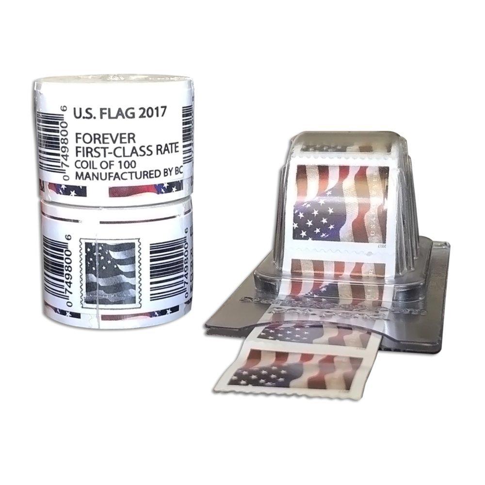 Forever Stamps - Sealed Rolls - Coil + Reusable Postage Dispenser - Postage Keeper (2 Rolls + Holder) by Stamp This!