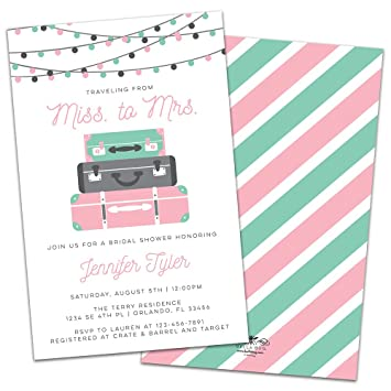 traveling from miss to mrs personalized bridal shower invitations