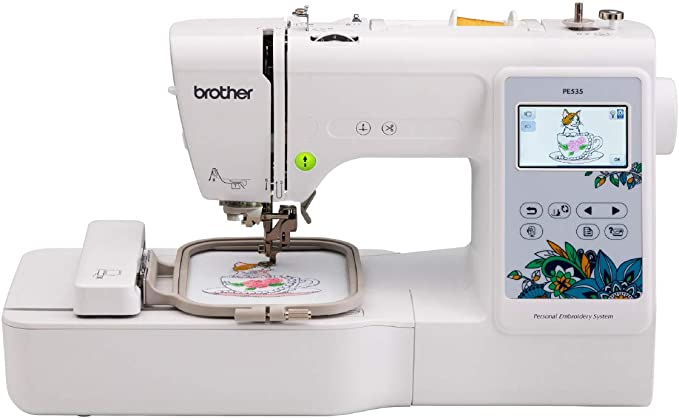 """Brother PE535 Embroidery Machine, 80 Built-in Designs, 4"""" x 4"""" Hoop Area, Large 3.2"""" LCD Touchscreen, USB Port, 9 Font Styles"""