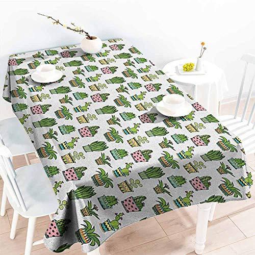 - familytaste Cactus,Rectangular Table Cover Colorful Pretty Succulent Houseplants and Cactus Pattern Doodle Style Flowers Pots 70