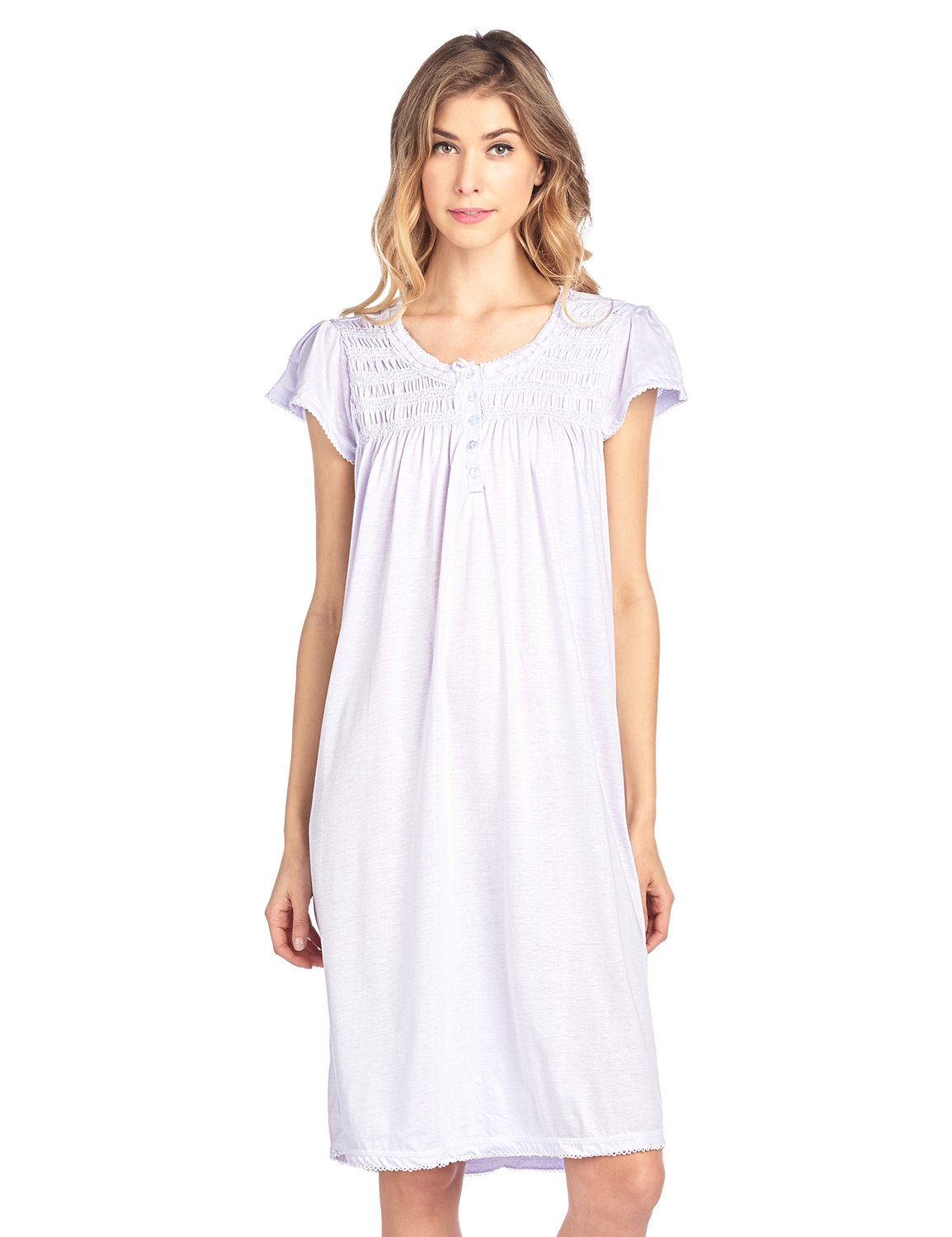 Casual Nights Women's Short Sleeve Smocked and Lace Nightgown - Purple - 4X-Large