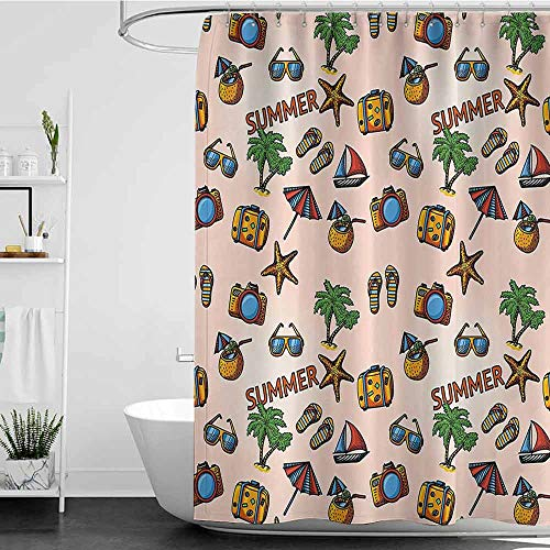 scenine Shower Curtains Boys Bathroom Palm Tree,Coconut Cocktail Starfish Slippers Palms Umbrella Yacht Photo Camera,Peach Light Coffee W72 x L96,Shower Curtain for Shower stall