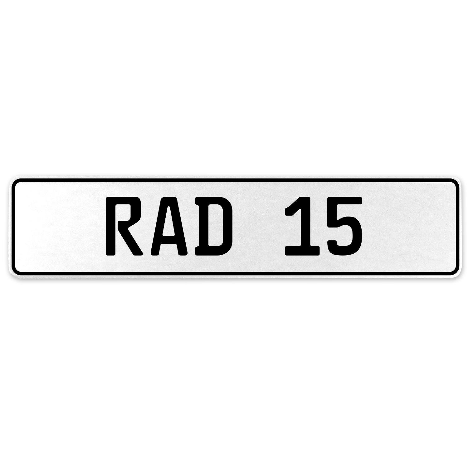 Vintage Parts 553919 RAD 15 White Stamped Aluminum European License Plate