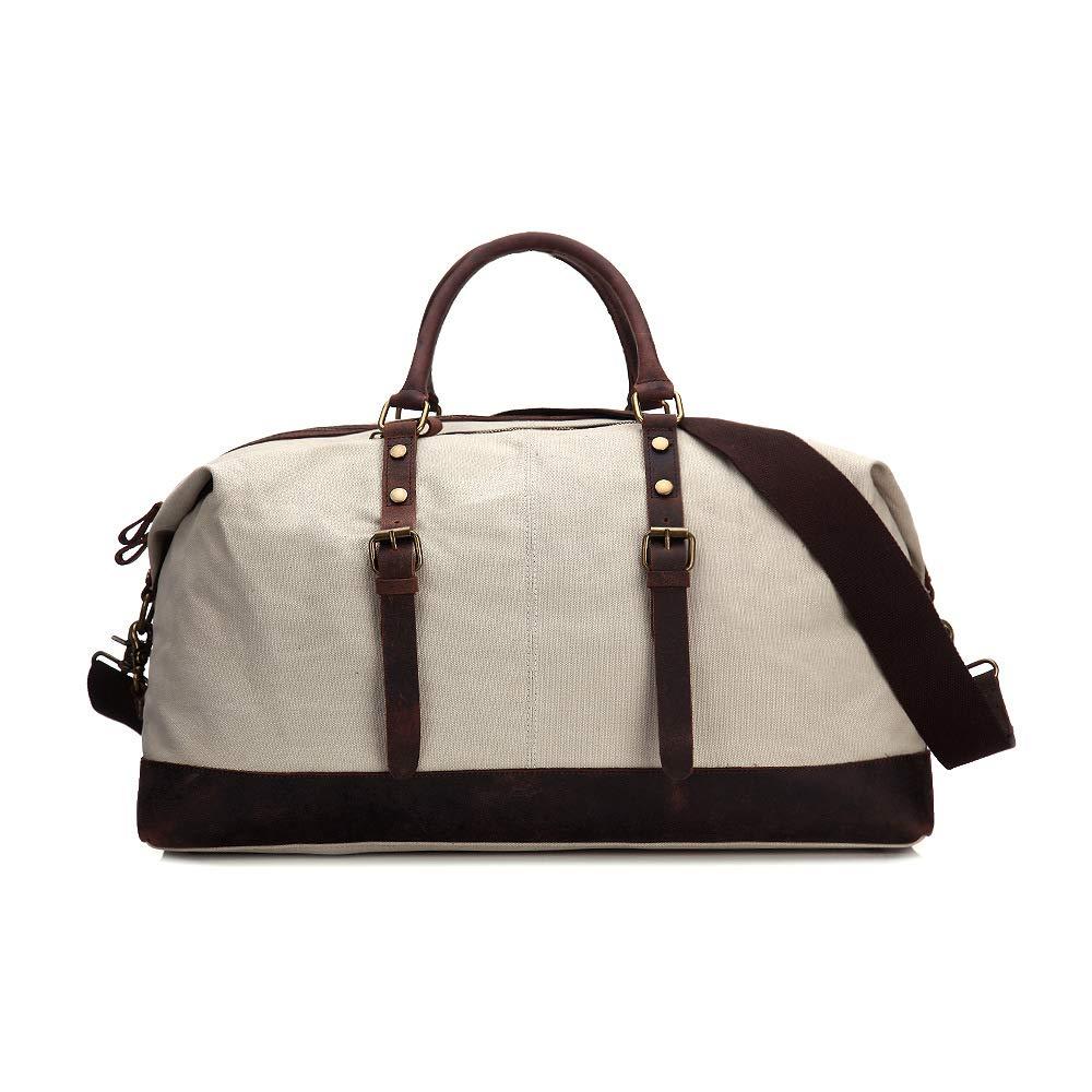旅行バッグ スタイリッシュなシンプルさキャンバスビッグバッグ厚い男性と女性のトラベルバッグショルダーバッグポータブルトラベルバッグウィークエンダーバッグ スポーツバッグ トラベルバッグ (色 : ベージュ, サイズ : L) Large ベージュ B07P969123
