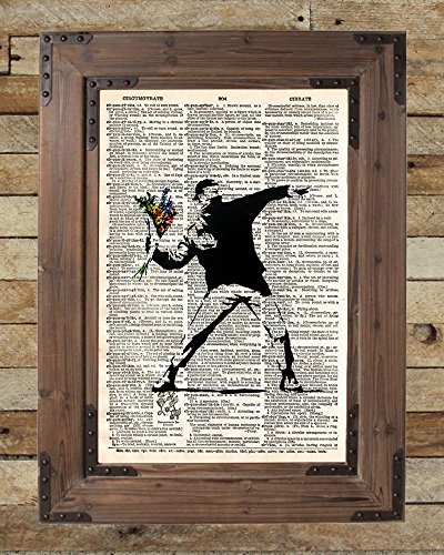 Banksy flower bomber, molotov cocktail, silhouette art, dictionary page art