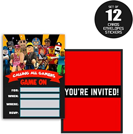 Amazon Com Invitations For Roblox Cards Birthday Party Invitation