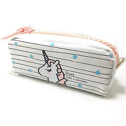 Shager 1pcs Chicas Chicos Niños Estuches, Diseño de Unicornio Animal Bolsa de Lienzo Lápiz Cosmética en Tejido con Cremallera Caja Case Pochette ...
