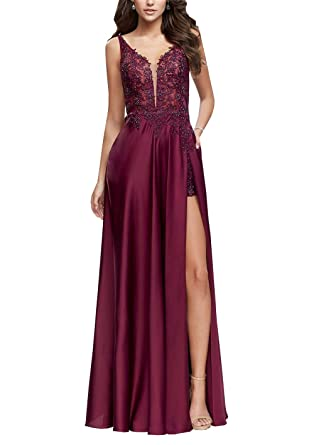 Applique Beaded Formal Gowns Prom Dresses Slit Spagetti V-Neck Backless Evening Dress Wine 2