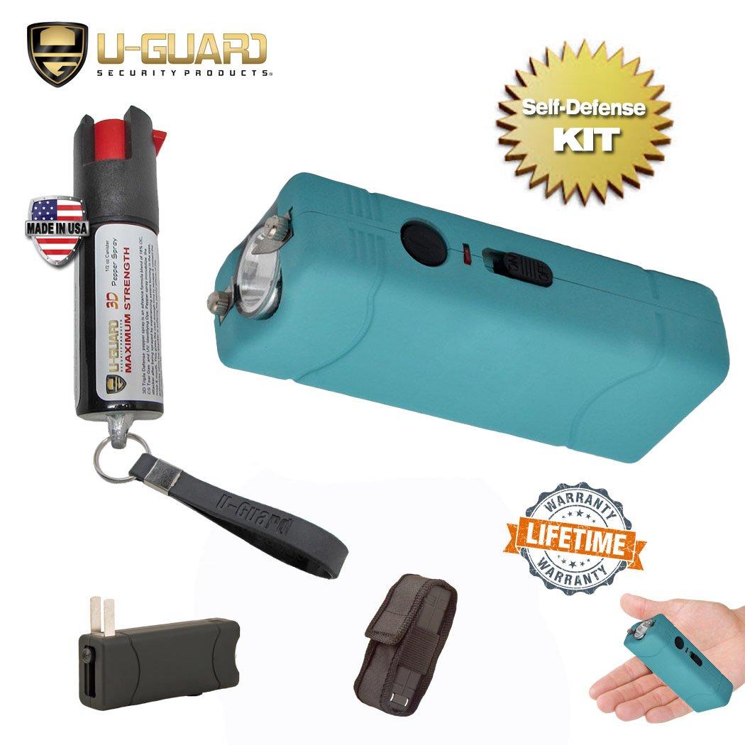 Pepper Spray Keychain Small Stun Gun Self Defense Kit (1) Rechargeable Mini Taser Flashlight (1) Police Pepper Spray .5 oz Tear Gas. Best Stun Gun Small Tazer For Women or Men (Blue / Teal)