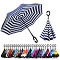 Windproof Double Layer Folding Inverted Umbrella, Self Stand Upside-down Rain Protection Car Reverse Umbrellas with C-shaped Handle