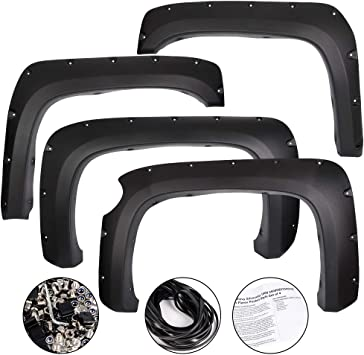 3500HD Wheel Black VRracing 4 PCS Rivet Fender Flares Pocket Style for Chevy Silverado 2007-2013 1500 2500HD