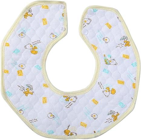 Kanggest Baberos de Bebés para Babas Baberos Redondo del Algodón Toalla de Saliva con Botón Quitababas para Comer - 25 * 25CM (Amarillo): Amazon.es: Bebé