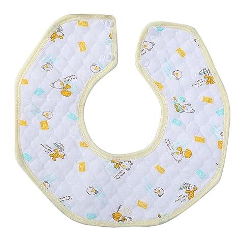 Kanggest Baberos de Bebés para Babas Baberos Redondo del Algodón Toalla de Saliva con Botón Quitababas
