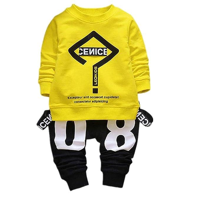 Vovotrade Bebé Niño Niña 2-6 Años 2 Piezas Conjunto de Trajes  Interrogatorio Impresión Manga Larga Camiseta Blusa Suéter + Pantalones  Ropa Mezcla de algodón ... 8e74104718395