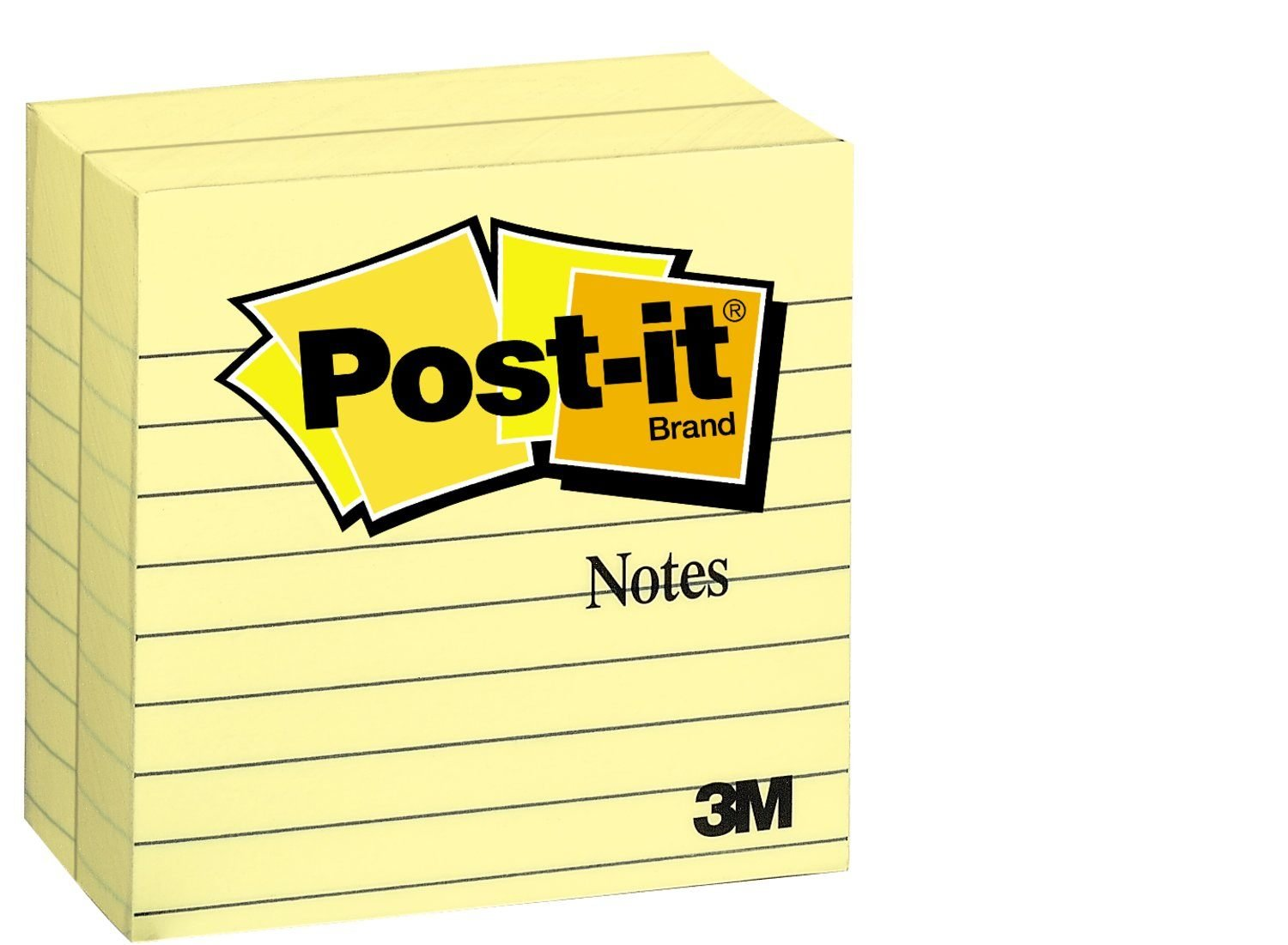 3M Post-it Notes,America's #1 Favorite Sticky Note, 4 x 4-Inches, Canary Yellow, Lined, 300-Sheets/Pad, 2-Pads/Pack - 675-YL-2PK