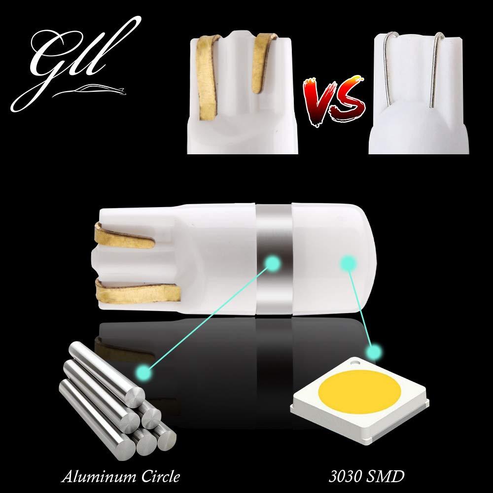 GLL T10 501 LED Ampoules Bleu W5W 194 168 2825 Wedge T10 Ampoules Sans Capuchon 3030-1SMD Pour la Voiture Int/érieur D/ôme L/éger Tableau de Bord Lat/éral Lumi/ère de Plaque de Tronc