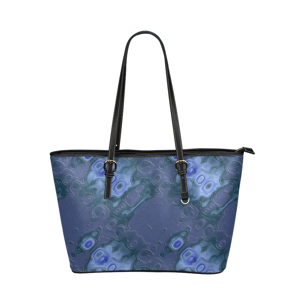 InterestPrint Blue Textured Leather Leather Tote Bag Large