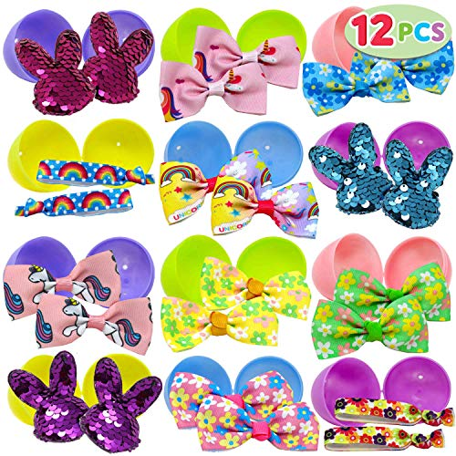 12 PCs Prefilled Easter Eggs with Hair Bows and Grosgrain Ribbon for Kids Basket Stuffers, Easter Decorations, Easter Dresses for Girls Children Fun, Easter Egg Hunt Game, Easter Décor Gifts and Party]()