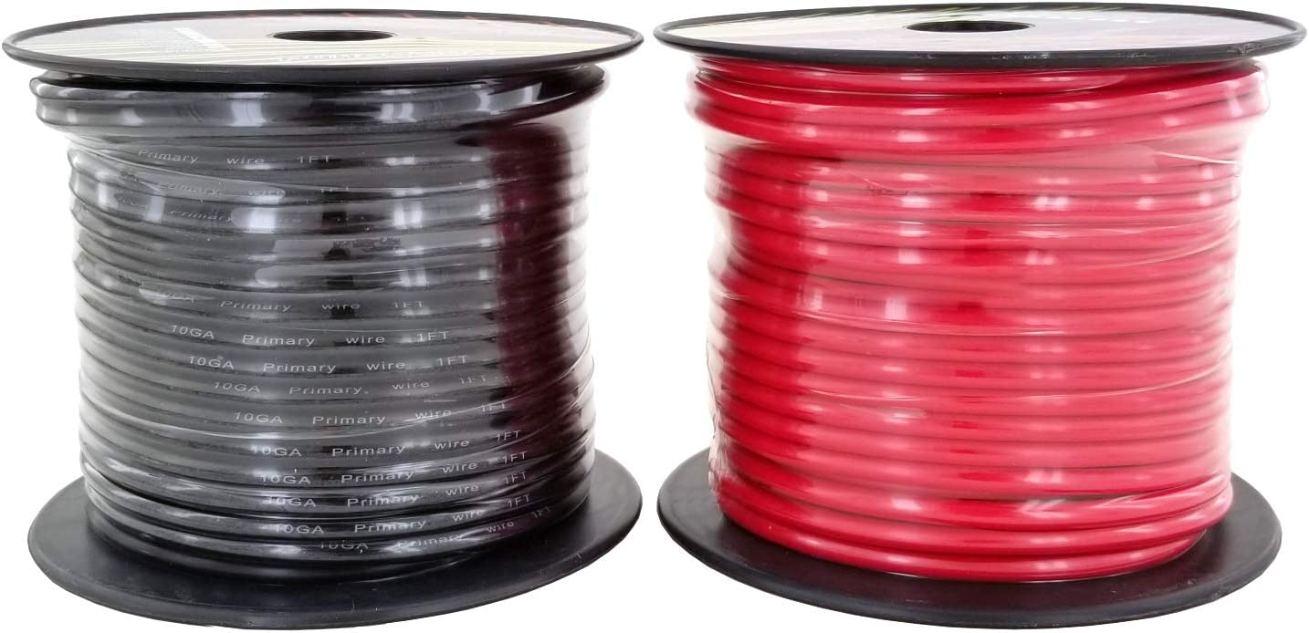 GS Power 10 Gauge Stranded Flexible Copper Clad Aluminum CCA Primary Automotive Wire for Car Audio Video Amplifier 12 Volt Trailer Harness Hookup Drone Model Train Wiring 100ft Red /& 100 ft Black