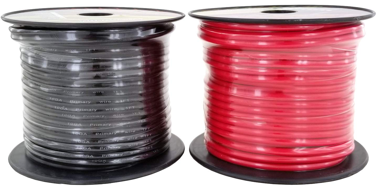 GS Power 10 Gauge Ga, 100' Red & 100' Black (200 ft Total) Primary Automotive Wire. for Car Audio Video Amplifier Remote Ground Radio Battery Relay Hook up Trailer Harness Model Train Cable Wiring